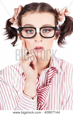 Funny Nerd Business Woman With Smart Idea