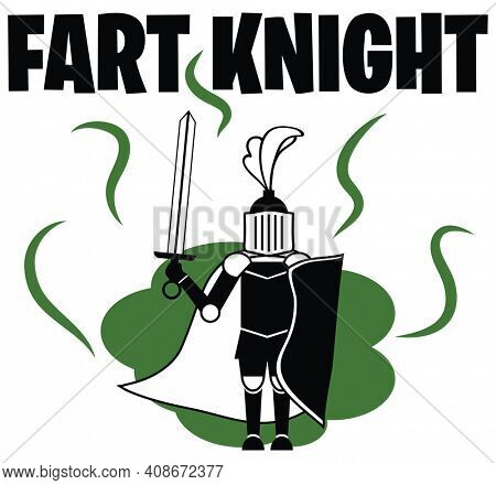 Funny Gassy Knight with Fart Cloud Illustration Isolated on White with Clipping Path.