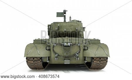 First Operational Heavy Tank Of The Us Army World War Ii And Korean War. Back View On Isolated Backg