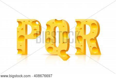 Cheese Font 3d Symbol, Letter P Q R Set. Vector