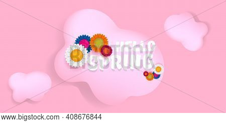 Vector Hello Spring Pink Horizontal Banner With Text And Flowers On Soft Pink Sky Background With Pi