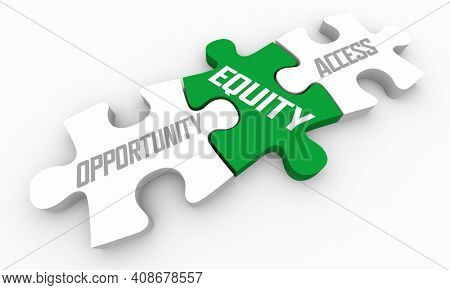Equity Bridging Gap Between Opportunity and Access Puzzle Pieces 3d Illustration