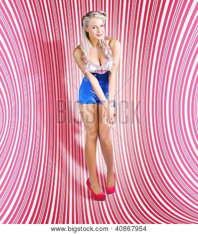 Retro Pinup Beauty On Psychedelic Background