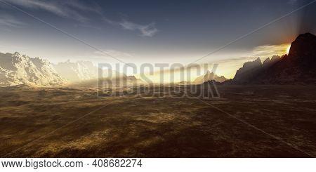 A desert sunset landscape background. 3D illustration