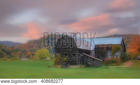 Old abandoned barn in the rural Vermont