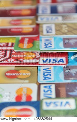 Modern Payment Systems. Visa And Mastercard Credit Cards Close Up. Credit Cards With Visa And Master