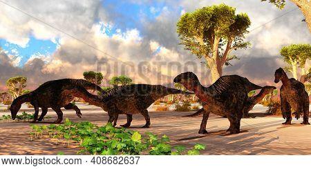 Lurdusaurus Dinosaur Herd 3d Illustration - A Cloudy Day Finds A Lurdusaurus Dinosaur Herd Resting A