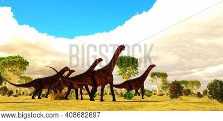 Mierasaurus Dinosaur Herd 3d Illustration - A Mierasaurus Sauropod Dinosaur Herd Travels Together Am