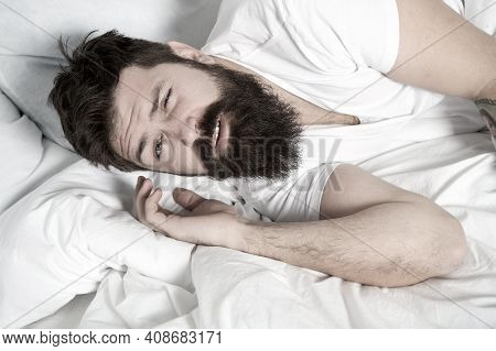 Lazy Morning. Relax And Sleep Concept. Man Bearded Guy Sleep On White Sheets. Healthy Sleep And Well