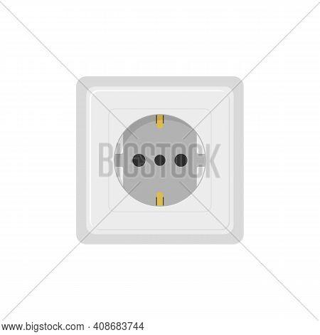 Power Socket Flat Illustration. Eu 220v Type Power Socket Isolated On White Background. Vector Eps 1