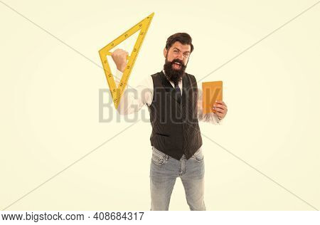 Engineering Is Science To Solve Problems. Excited Hipster Hold Triangle And Book Isolated On White.