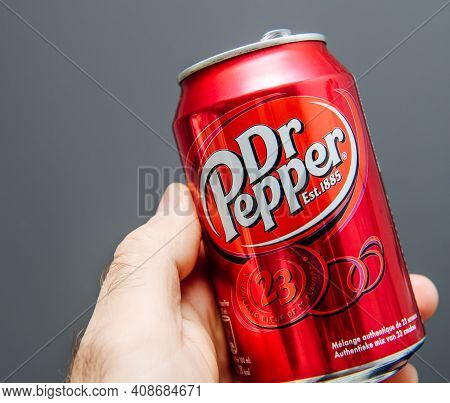 Paris, France - May 3, 2020: Pov Male Hand Holding Aluminum Can Of Dr Pepper Manufactured By Dr Pepp