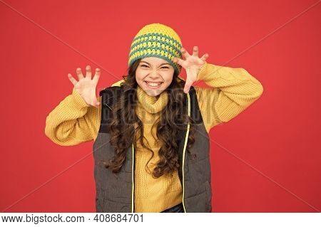 Rrrrr I Will Catch You. Crazy Cutie Red Background. Crazy Child Roar With Frightening Gesture. Littl