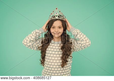 Lady Small Baby Princess. Number One. Kid Wear Golden Crown Symbol Of Princess. Girl Cute Baby Wear