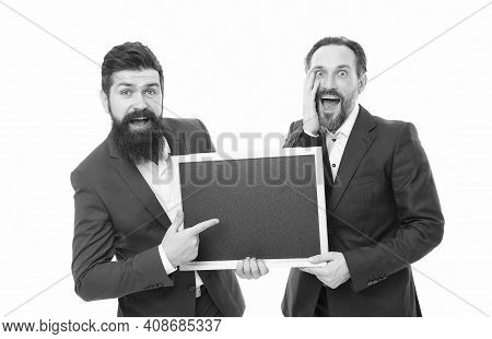 Business People Concept. Men Bearded Guys Wear Formal Suits. Well Groomed Business Man Hold Chalkboa