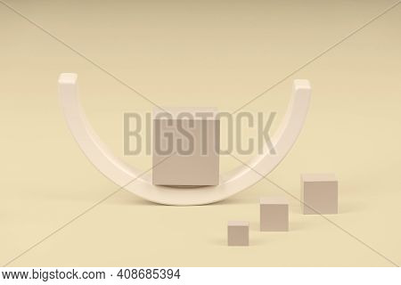 Wooden Geometric Shapes Forms Colorful Figures Composition On Pastel Background