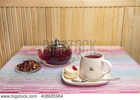 Tea Drink Made From Hibiscus, Dried Apple, Rose Hips With The Addition Of Orange Zest, Verbena, Drie