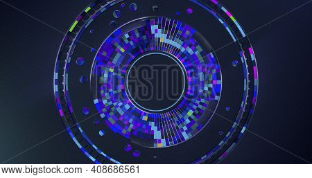 Futuristic Dark Metallic Disk Background With Blue, Red And Purple Square Concentric Cells Inside Ch