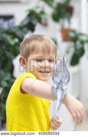 Child Kid Boy In Bright Yellow T-shirt Laughs And Rejoices Sitting On His Hand Gray Huge Big Domesti