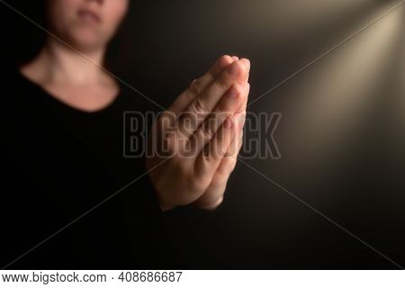 Praying Hands With Faith In Religion And Belief In God On Blessing Background. Power Of Hope Or Love
