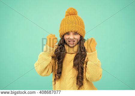 Threatening With Physical Attack. Kids Aggression Concept. Aggressive Girl Winter Clothes Threatenin