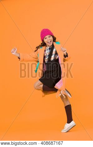 Holidays For Fun Activities. Happy Small Girl Celebrate Autumn Holidays. Little Kid Going On School