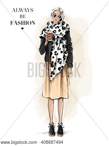 Fashion Woman In Scarf With Leopard Print. Girl Holding Paper Coffee Cup. Beautiful Young Woman In S