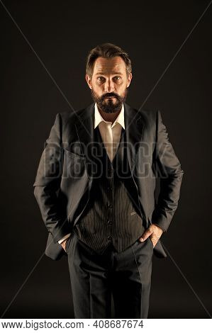 Official Event. Old Fashioned. Classics Eternal Value. Bearded Man With Formal Look. Businessman Bla