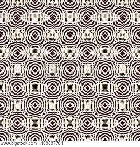 Seamless Pattern With Repeated Hatched Overlapping Circles. Openwork Surface Texture. Round Links Mo