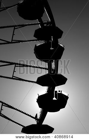 Silhouette of a ferris wheel