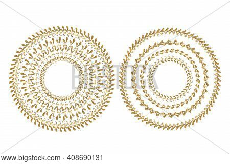 Golden Frame With Floral Ornament In Circle On White Background. Template Round Lace Border. Luxury