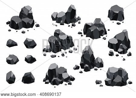 Collection Of Coal Black Mineral Resources. Pieces Of Fossil Stone. Polygonal Shapes Set. Black Rock