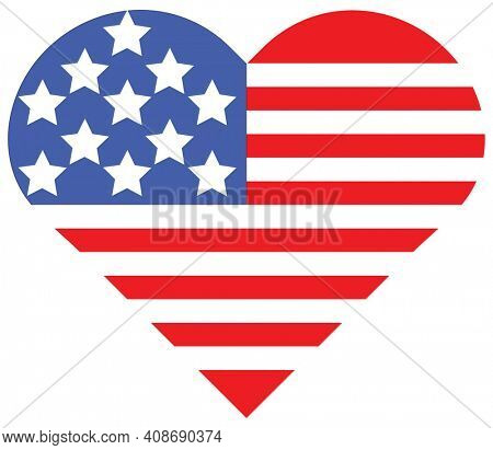 Heart Flag Clipping Path on Blue and Red Only Isolated Illustration on White.