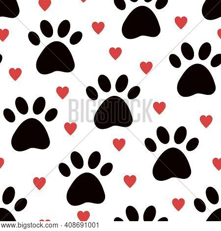 Dog Paw Vector Seamless Pattern With Hearts. Cute Valentine, Pet Day Wallpaper Background For Pet Sh