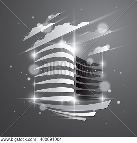 Office Building, Modern Architecture Vector Illustration With Blurred Lights And Glares Effect. Real