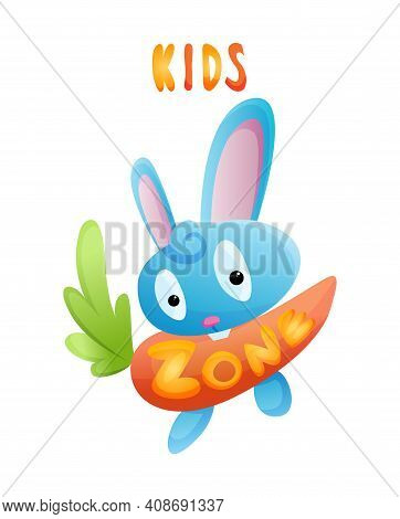 Kids Zone. Toys Fun Playing Zone. Playroom Banner In Cartoon Style For Children Play Zone. Children