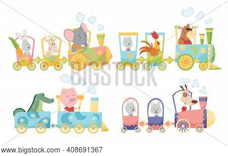 Funny Animals In Locomotive. Cute Animals Riding A Colorful Train. Little Rabbit, Dog, Goat, Wolf, C