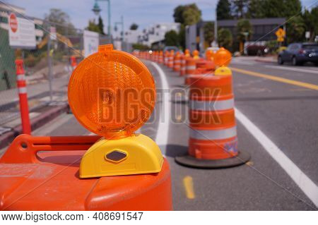 Street With Lanes Delimited By Road Separators. Roadworks. Organization Of Road Traffic Using Traffi