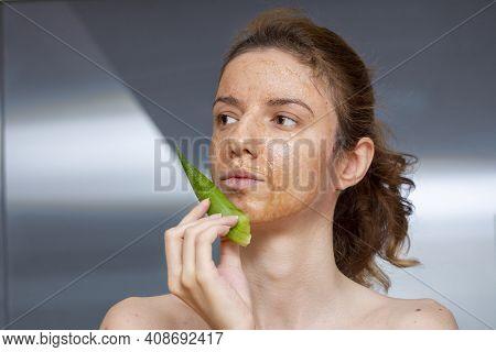Female Model Applying And Enjoying A Diy, Homemade Mask Treatment For Dermatitis Seborreica Made Of