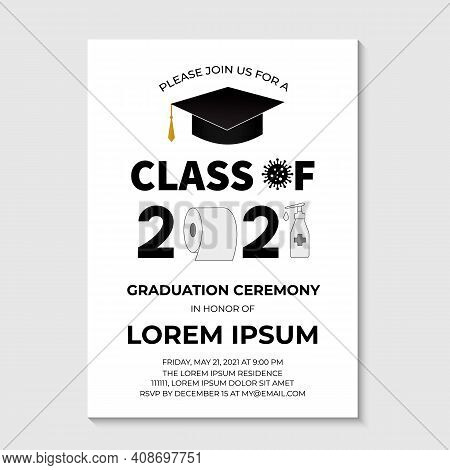 Graduation Ceremony Class Of 2021 Invitation Card With Toilet Paper. Funny Graduation Party Invite.