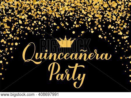 Quinceannera Party Banner. 15th Birthday Party Typography Poster. Black And Gold Confetti Party Deco