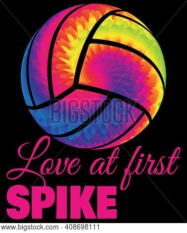 Love at First Spike Tie Dye Volleyball Illustration with Clipping Path Isolated on Black.