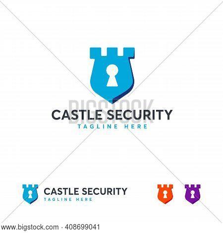 Castle Security Logo Designs Vector, Kingdom Shield Logo Designs Template