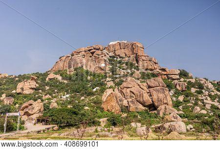 Hunumanahalli, Karnataka, India - November 9, 2013: Kishkinda, Anjanadri Hill, Anjaneya Parvat, The