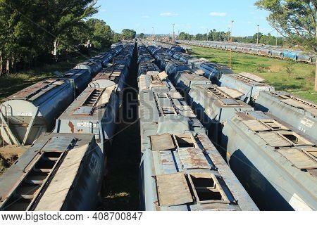 Bahia Blanca, Puerto De Ingeniero White, Buenos Aires Argentina, January 2021, Grain Container Silo