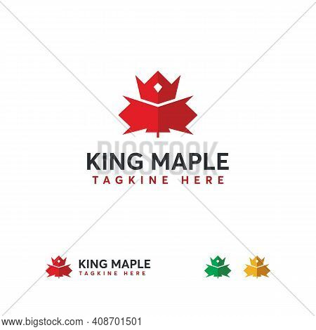 King Maple Logo Designs Concept Vector, Canadian Leaf Logo, Canadian King Logo Template