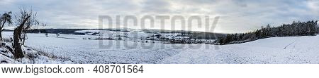 Panorama From Beautiful German Landscape In Winter
