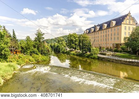 View From Old Bridge To The River Werra In Hannoversch Muenden, Germany