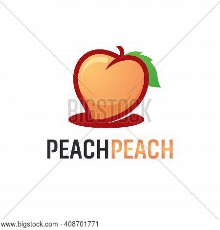 Love Peach Fruit Logo Designs Vector, Illustration Of Peach Fruit Template