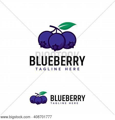 Cartoon Of Blueberry Fruit Logo Designs Vector, Illustration Of Blueberry Template